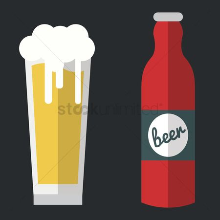 Liquor : Glass of beer with bottle
