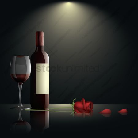 Red : Glass of wine with bottle and rose