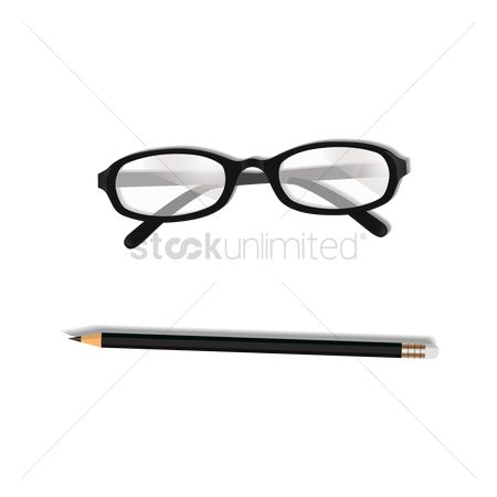 Write : Glasses and pencil