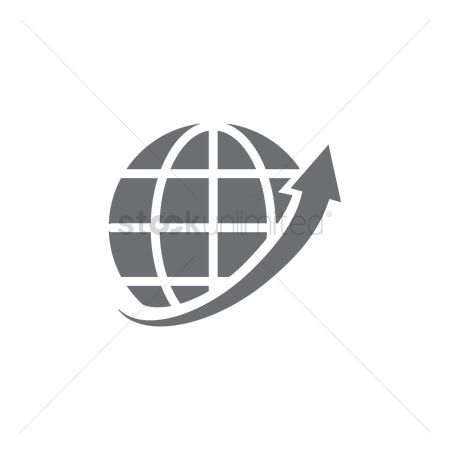 Increase : Globe with arrow icon