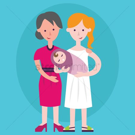 Grandparent : Grandmother and mother holding a baby