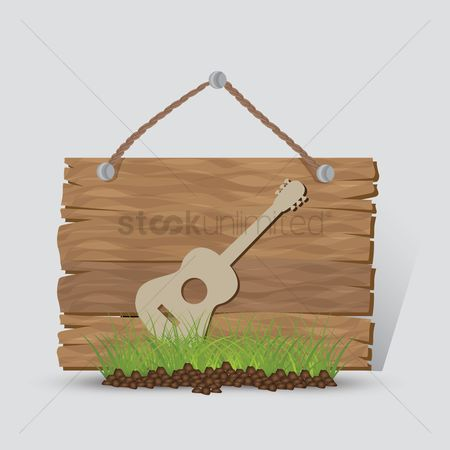 Wooden sign : Guitar sign
