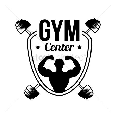 Dumb bell : Gym center label