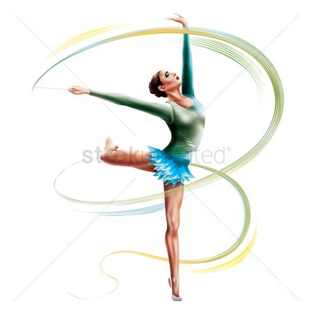 Athletes : Gymnast with a ribbon