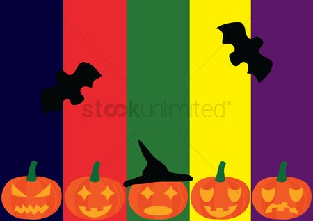 Jack : Halloween background with pumpkins and bats