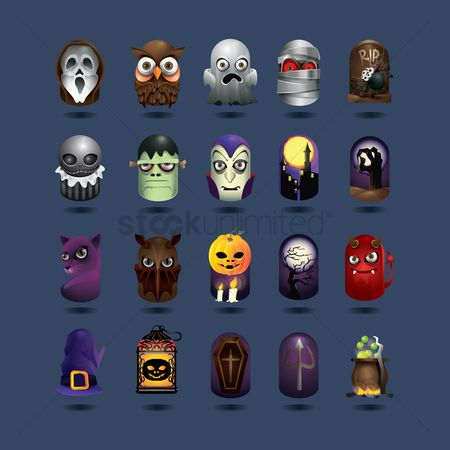 Moon : Halloween icons set