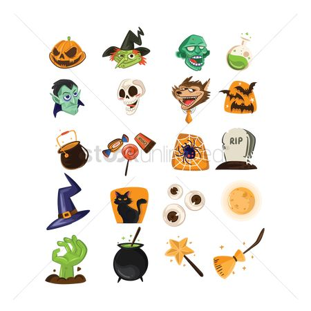 Head : Halloween icons set