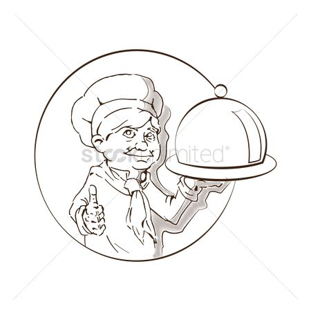 Servings : Hand drawn chef with cloche