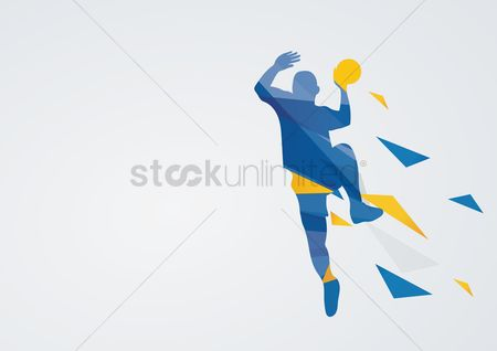 Athletes : Handball in action