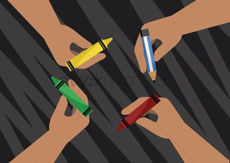 Crayons : Hands holding crayons and pencil on abstract background