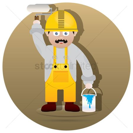 Repairman : Handyman with paint roller and bucket