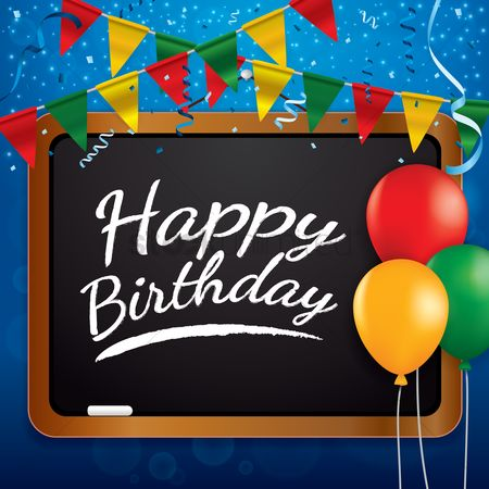 Blackboard : Happy birthday greeting