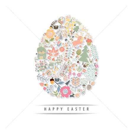 Floral : Happy easter card