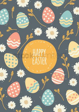 Grass background : Happy easter design