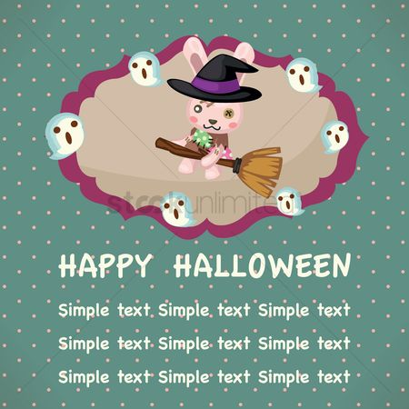 Broom : Happy halloween card