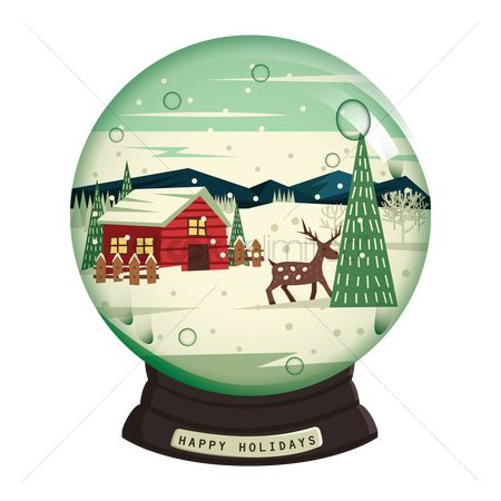 Vintage : Happy holidays snow globe