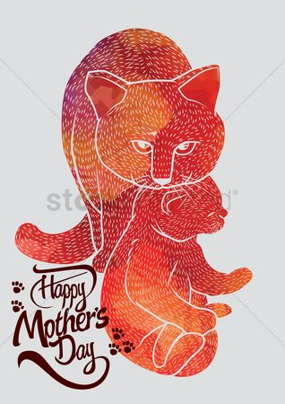 Mothers day : Happy mothers day card with cats