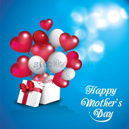 Mothers day : Happy mothers day card with gift box