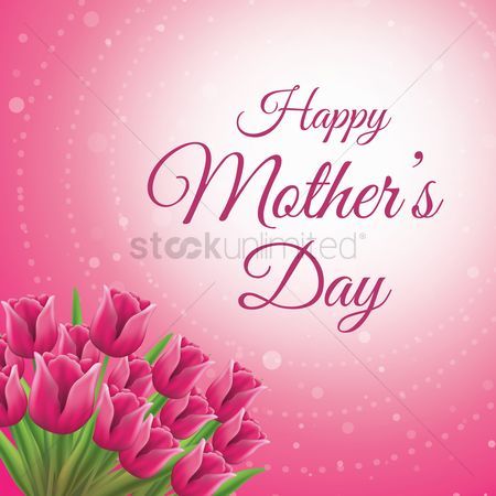 Greetings : Happy mothers day card with tulips