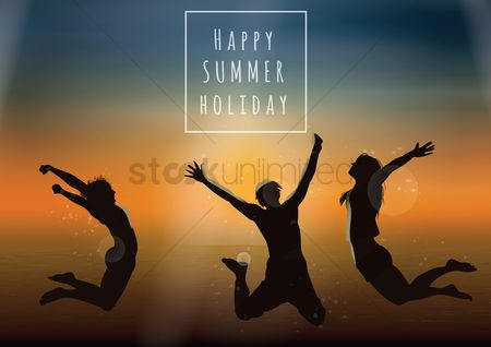 Poster : Happy summer holidays card