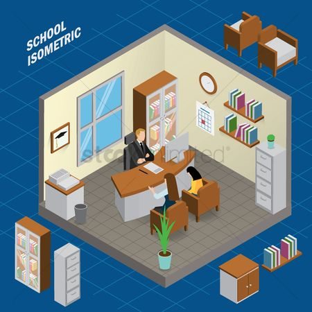 Teaching : Headmaster room school isometric
