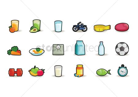 Soccer : Healthy food icons