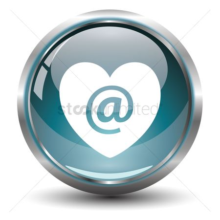 Online dating icon : Heart with e-mail icon