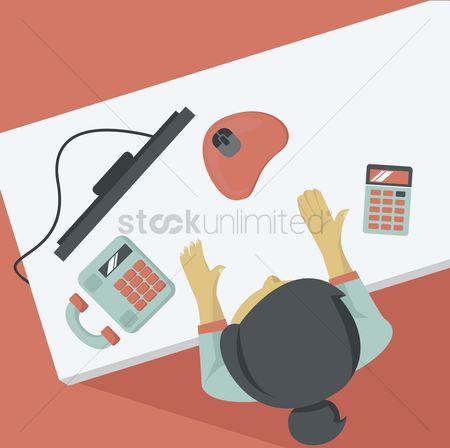 Lady : High angle view of businesswoman at office desk