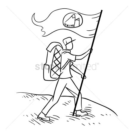 Hikers : Hiker with the flag