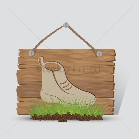 Wooden sign : Hiking boot sign