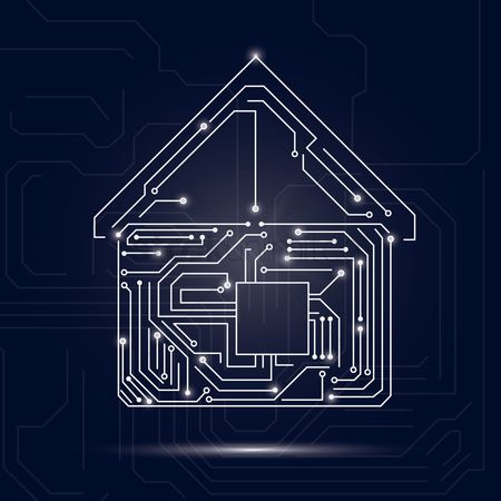 Hardwares : Home design on circuit board background
