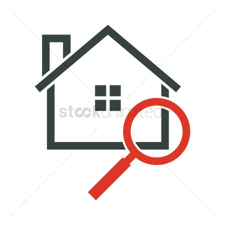 Real estate : Home with magnifying glass
