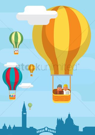Towers : Hot air balloon flying over cityscape