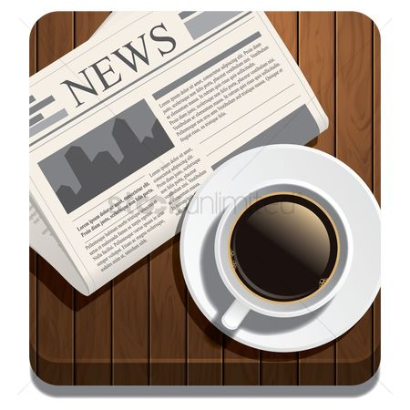 Coffee : Hot beverage and newspaper
