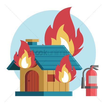 Fire extinguisher : House on fire