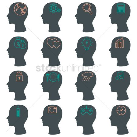 Calculator : Human head silhouette icons