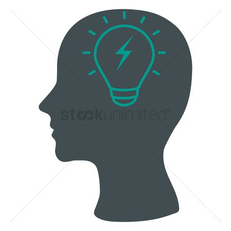 Imaginations : Human head silhouette with a bulb