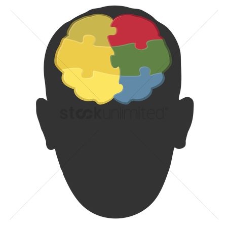 Jigsaw : Human head silhouette with brain art