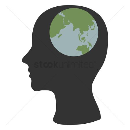 Imaginations : Human head silhouette with globe