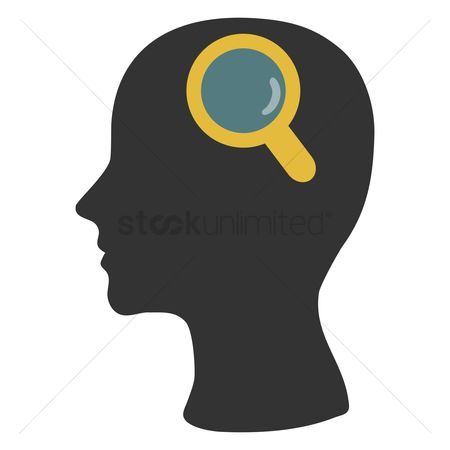 Imaginations : Human head silhouette with magnifier
