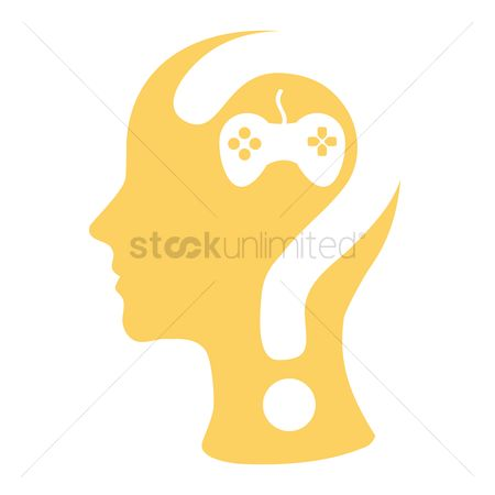 Imaginations : Human head with question mark and a joystick