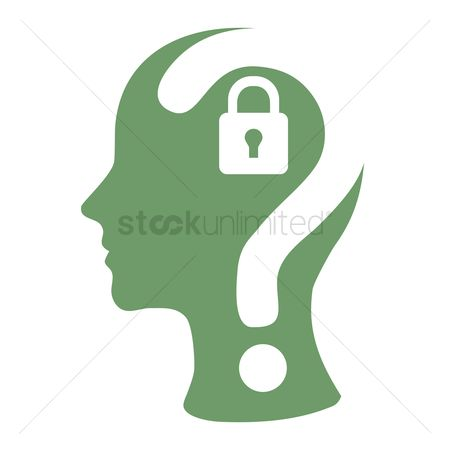 Imaginations : Human head with question mark and a lock
