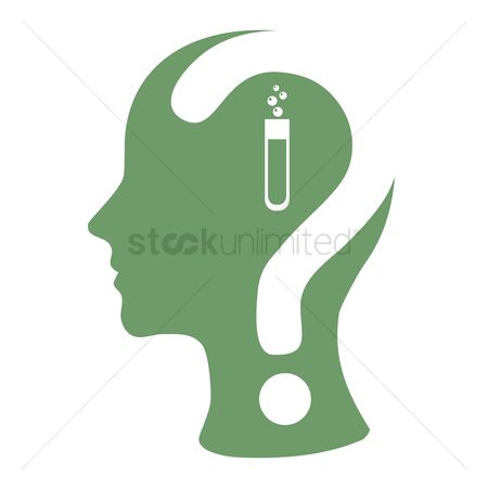 Imaginations : Human head with question mark and a test-tube