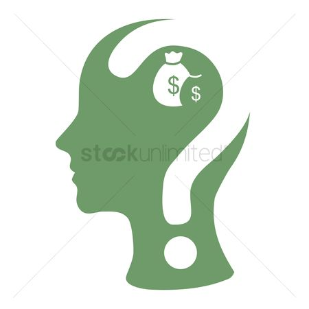Wealth : Human head with question mark and dollar bags