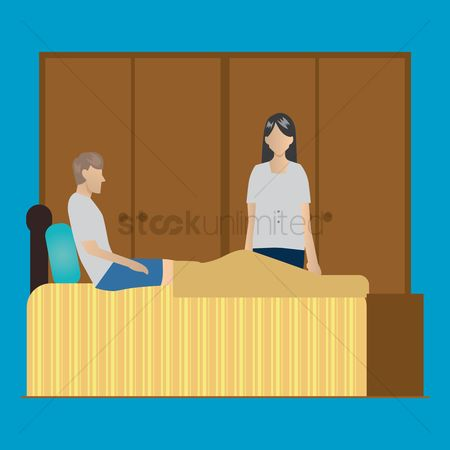 Laying : Husband and wife in a bedroom