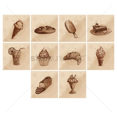 Croissants : Ice cream and sweet food icon set