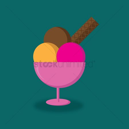 Snack : Ice cream scoops in a goblet