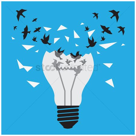 Freedom : Ideas break free concept of birds freeing themselves from the lightbulb