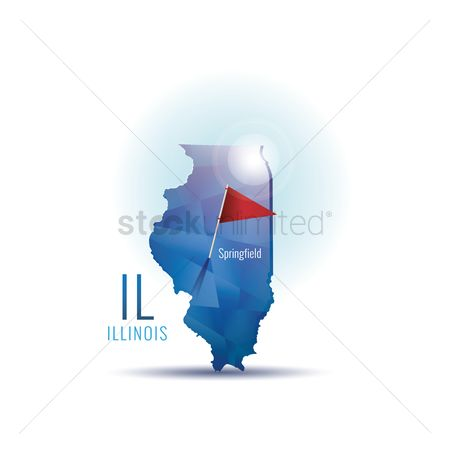 Capital city : Illinois map with capital city
