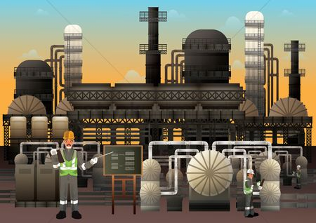 Tanks : Illustration of an industrial factory